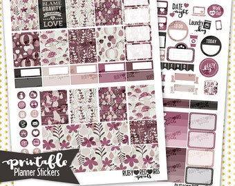 Fall in Love PRINTABLE Planner Stickers | Pdf, Jpg, Png, and Silhouette Studio V3 Format | ECLP Vertical Planner Stickers