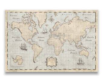 world travel push pin map rustic vintage cork pin board canvas rustic vintage style