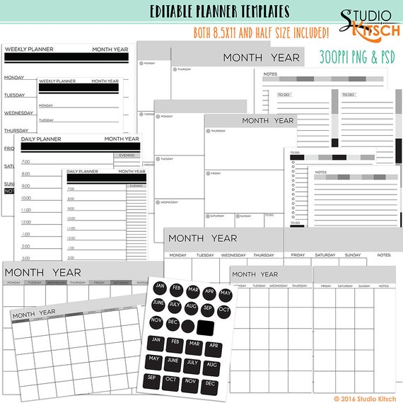 editable planner pages templates printable 85x11