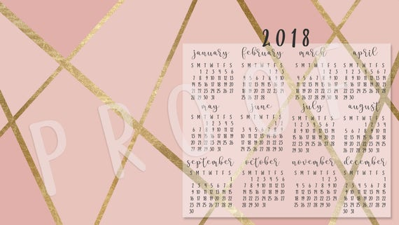 Calendar Desktop Wallpaper 2018 Pink