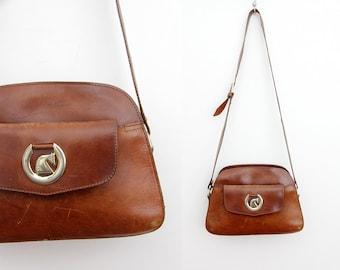 Vintage purse // 70s 80s SCANDIANO brown leather satchel bag // messenger bag // crossbody bag