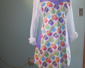 Cupcakes with Frosting Reversible Apron with Reverse being Small Lavender Print