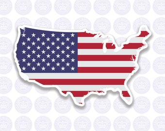 American Flag Decal - USA Decal Bumper Sticker - Shape of America - American Flag Decal - United States of America Laptop Decal - USA Decal