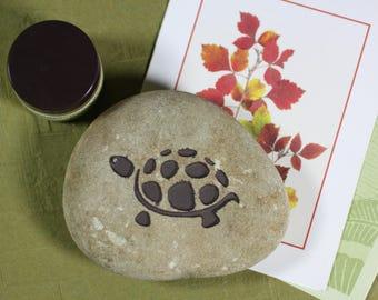 Turtle engraved stone