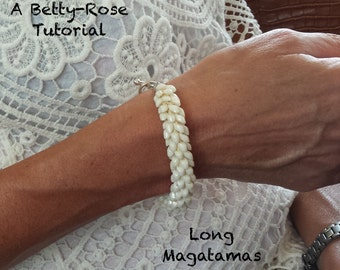 Tutorial for Beaded Kumihimo Bracelet with Long Magatama beads Instant Download PDF Beading Pattern