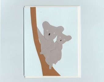 Koala baby and mother - papercut collage card