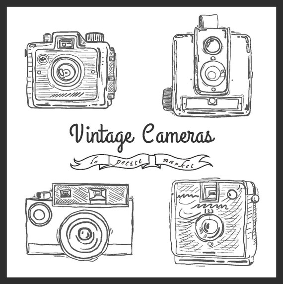 Cute Hand Drawn Camera Clip Art Vintage Illustration Photography From LePetiteMarket On Etsy Studio