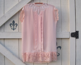 Vintage blush tunic, peach lace tunic, XS-S, Victorian blouse XS-S, romantic top by Shaby Vintage
