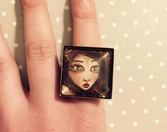 """Lady Bird"" square Adjustable ring ring"