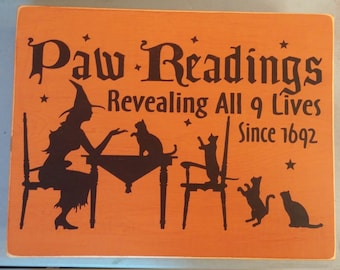 Paw Readings Halloween Wood Sign