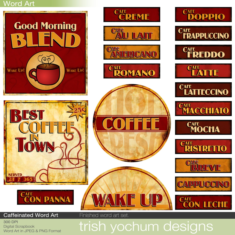 Coffee Word Art Digital Java Clipart Words Scrapbook Quotes