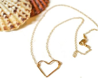 Heart Choker Gold, Gold Heart Necklace, Open Heart Necklace, Mini Heart Choker