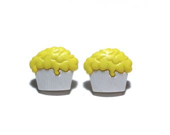 Yellow Cupcake Earrings, Cupcake, Foodie Gift, Stud Earrings, Post Earrings, Gift, under 5 dollars, gift for her, Pastry Chef, Valentines