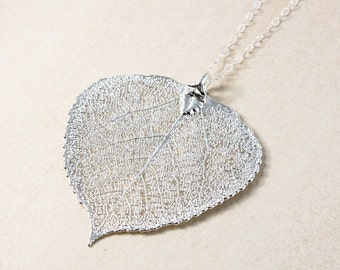 Silver Dipped Aspen Leaf Necklace - Simple Chain - Layering Necklace