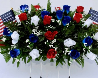 Cemetery saddle~summer flowers~Patriotic Mix~cemetery flowers~graveside flowers~saddle arrangement~flowers for graves~vase filler