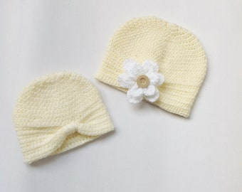Ivory Off White Crochet Turban Hat 0-3 month & 3-6 months For Baby Girl Gifts and Baby Shower
