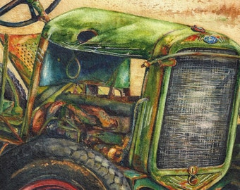 The Vintage Tractor Original Watercolor Painting Vintage View Artwork Home Decor Rustic Weathered Green Aged Farm Ranch Christy Sheeler