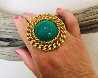 Turquoise and gold bohemian ring.
