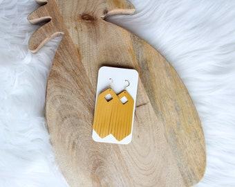 Golden Leather Fringe Drop Earrings, fringe earrings, mustard earrings, leather fringe, fringe jewelry