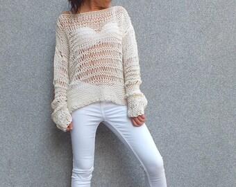 Ecru sweater, off the shoulder sweater, cotton sweater, Loose knit sweater, Open knit sweater, Summer knit sweater, Boho Sweater