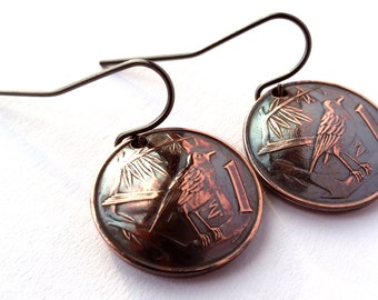 Unique Bird Copper Coin Earrings, Cayman Islands, Caribbean, Bird Earrings, Gift for Mom, Gift for Her, Gift for Wife