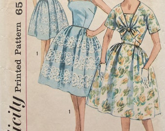 Simplicity 3971 Vintage 1960s Sewing Pattern Fit and Flare Dress Bow Front Bolero Jacket  Complete 60s Dress Pattern Bust 32