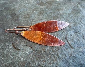Long copper earrings, Leaf earrings, Boho earrings, Artisan jewelry, Hammered copper, Textured metal, Oval earrings