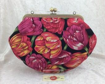 Handmade handbag purse clutch kiss clasp Grace frame bag Tulips
