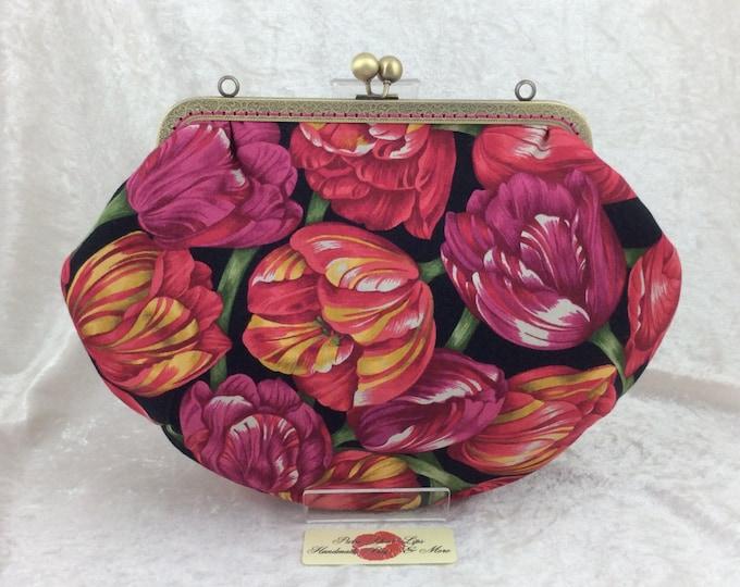 Tulips Fabric purse bag frame handbag fabric clutch shoulder bag frame purse kiss clasp bag Handmade Flowers