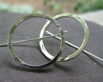 Simple, Everyday Sterling Silver Circle Earrings . with bent-post earwires . large 1 inch diameter . made to order