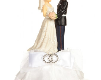 Military Marine Rhinestone Cake Topper- Custom Painted Hair Color Available - 100086