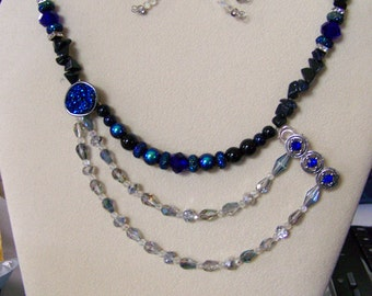 Beaded Necklace Set,Druzy Necklaces,Comet Druzy Jewelry,Blue and Black Necklaces,Star Necklace,Multi-strand Necklace,#114