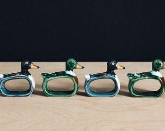 Game Season Duck Napkin Rings set of 4