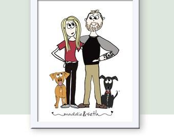 Custom Couple's Illustration, Digital Portrait, Printable Custom Couple Wedding Gift Personalized Illustration