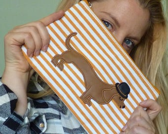 Mr Sausage Dog Cosmetic Pouch / Wristlet
