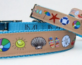 BEACH TIME!  Beach Collars for Cats and Dogs-Sand and Sun Fun-Summer Collar-Summer Ribbon Collar-Summer Dog Collar-Summer Cat Collar-Leashes