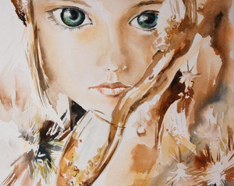 Girl with big eyes portrait original watercolor painting, portrait of girl painting watercolor art