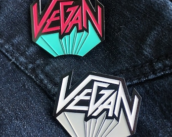 VEGAN METAL Enamel Pin - Lapel Pin Badge Hat Pin - 80s Hair Band Vegan Logo
