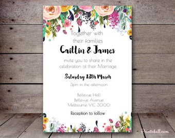 DIY Floral Chic Custom Wedding Invitation, Bridal Shower Invitation, Birthday Party Invitations, printabell BS138 SN34 TLC140