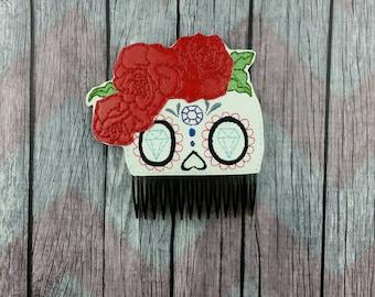Sugar skull Hair comb, hair comb accessory, bun pal, day of the dead, Día de Muertos, rose hair comb, skull fascinator, Gothic hair comb