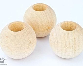 25mm Natural Unpolished Wood Finial (4 Pcs) #5762