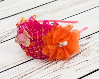 Handcrafted Pink and Orange Butterfly Feather Headband - Adult Headband - Butterfly Wedding - 1920s Headpiece - Fancy 1920s Hair Accessory
