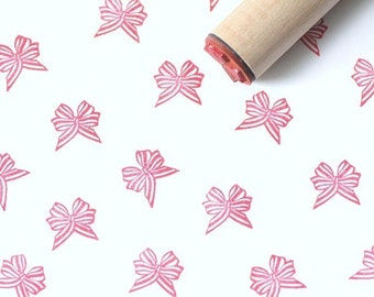 Peppermint Bow Rubber Stamp
