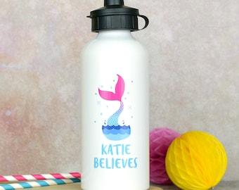 Mermaid water bottle, personalised water bottle, mermaid gift, mermaid gift for little girl