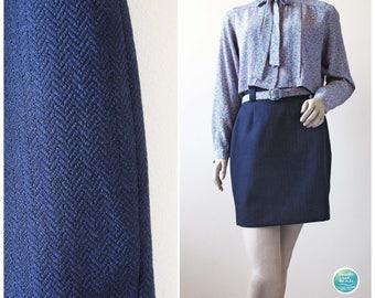 Vintage Blue High Waisted Skirt Wool Mini Skirt Herringbone Skirt Small Medium 80s Black Blue Skirt Short Skirt High Waist