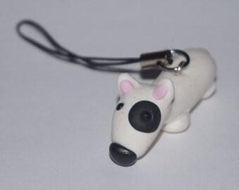 Bull Terrier Phone Charm, Bull Terrier Charm, Bull Terrier gift, clay Bull Terrier, English Bull Terrier, Christmas gift,