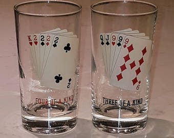 Two vintage playing cards Drinking Glasses, high ball glasses, Vintage Poker Playing Card Tumblers, vintage barware, vintage glassware