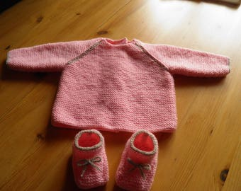 Pink jacket and slippers size 3 months
