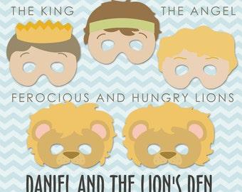 Daniel and the Lions Den Printable Masks PDF -  bible printables - scripture printable - Instant Download