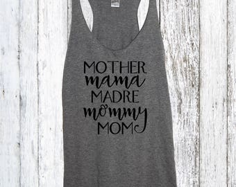 Mother Mama Madre Mommy Mom tank top, Mother Tank Top, Mom Shirt, Baby Mama Shirt, Pregnant Mom To Be Shirt, Baby Shower Gift